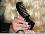 "BIRDTAIL SCRITCHER 6-6.5"" Stimulating Black Ox Horn Comb"