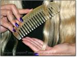 """LONG-DEEP N WIDE-TOOTH 6"""" Sheep Horn Comb - Image #2"""